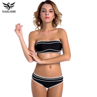 NAKIAEOI 2017 Newest Sexy Bandeau Bikinis Women Swimsuit Push Up Swimwear Crochet Handmade Brazilian Bikini Set