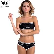 Nakiaeoi 2017 nuevos sexy bandeau bikinis mujeres traje de baño empuja hacia arriba el traje de baño de ganchillo hecho a mano brasileño bikini set trajes de baño