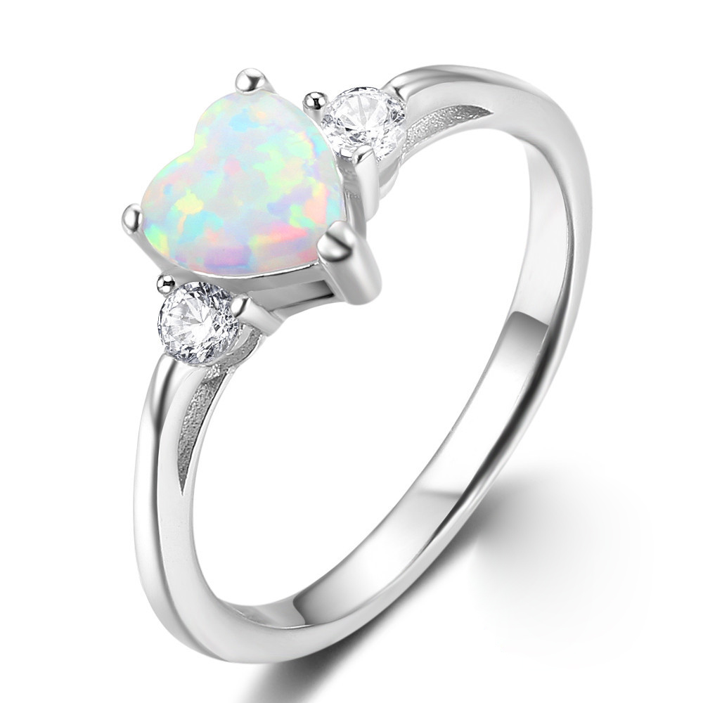 Women's 925 Anillos Silver Ring Love Heart Cut Fire Opal Jewelry Christmas Birthday Proposal Gift Bridal Engagement Party Rings