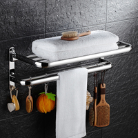 Wall Mounted Stainless Steel Towel Bar Bathroom Shelves With Hooks Double Layer Bathroom Shelf Bathroom Accessories
