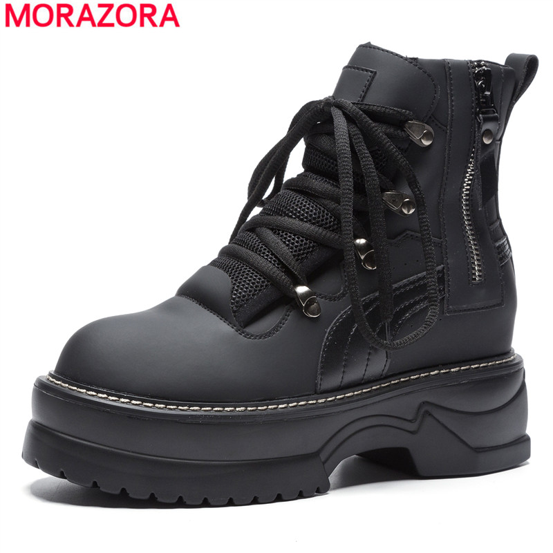 MORAZORA 2018 new high quality motorcycle boots women fashion lace up platform ankle boots for women punk ladies shoes