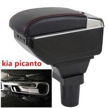 Для kia picanto подлокотник коробка центральный магазин содержание коробка для хранения подлокотник коробка с держатель стакана, пепельница USB интерфейс