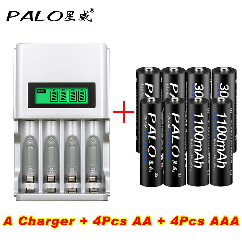 4 Slots LCD Display Smart Intelligent Battery Charger For AA/AAA NiCd NiMh Rechargeable Batteries EU/US Plug+4pcs AA + 4pcs AAA