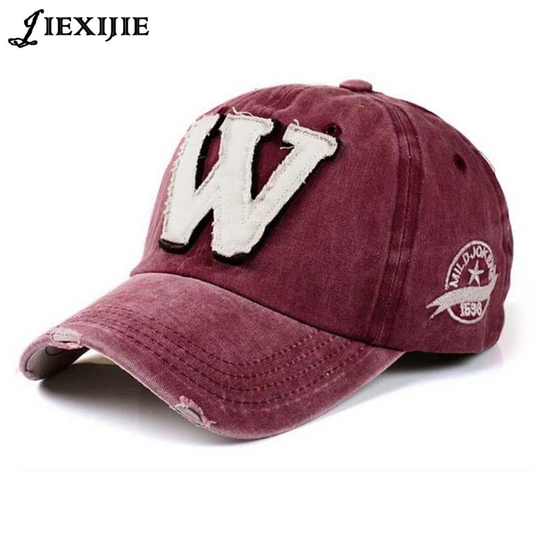 Cotton Embroidery Letter W Baseball Cap Snapback Caps Bone casquette Hat  Distressed Wearing Fitted Hat For d38ca24216b1