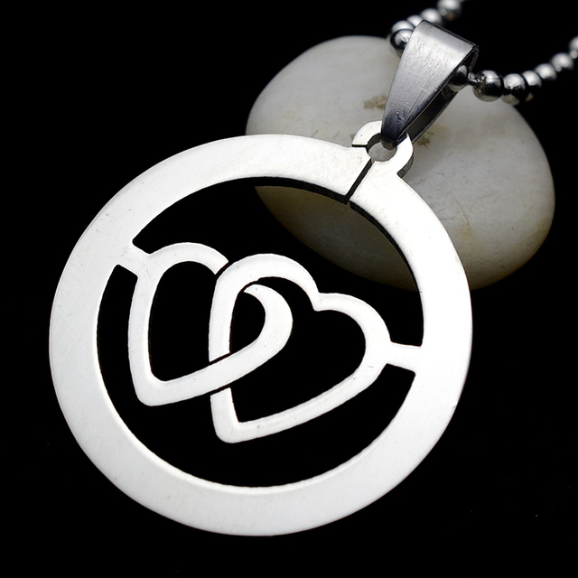 Silver Tone Stainless Steel Round Heart Symbol Of Love Dog Tag Charm