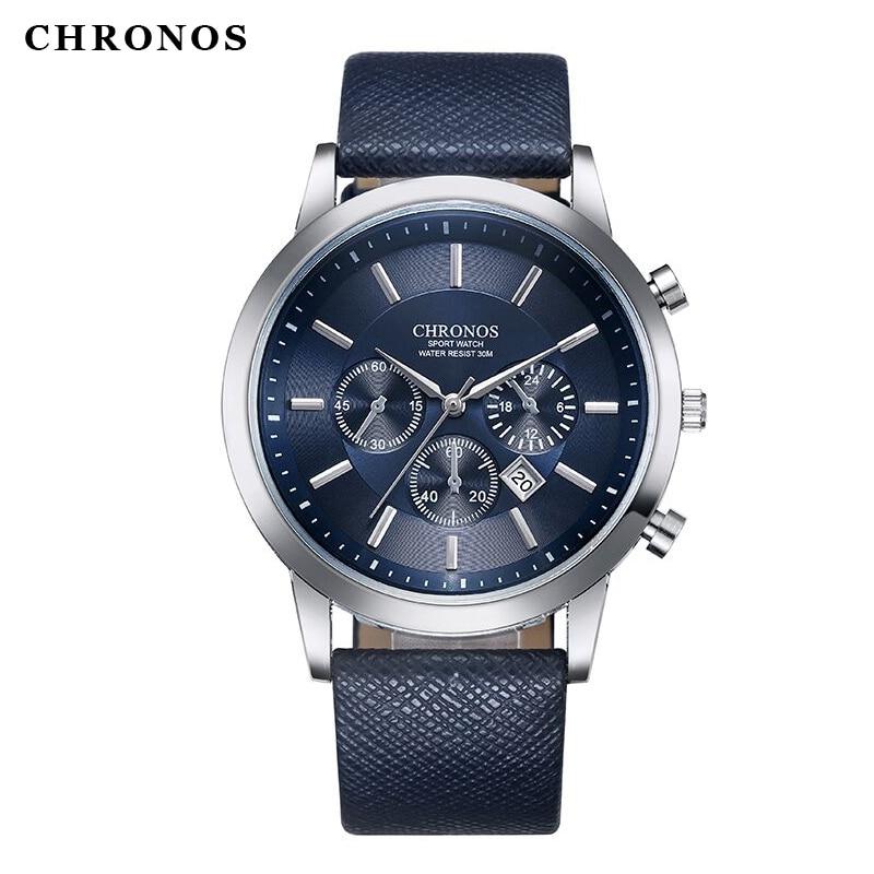 Luxury Brand chronos Men Quartz Watches Genuine Leather Waterproof Casual Wrist watches for Man Sport relojes Outdoor Clock analog watch