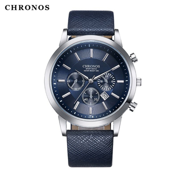 CHRONOS Mens Sport Wristwatches Military Date Casual Leather Quartz Watches Male Large Round Analog Watch Clock Orologio Uomo weide mens sport watch military analog sport digital calendar date day quartz leather strap water resistant wristwatches clock