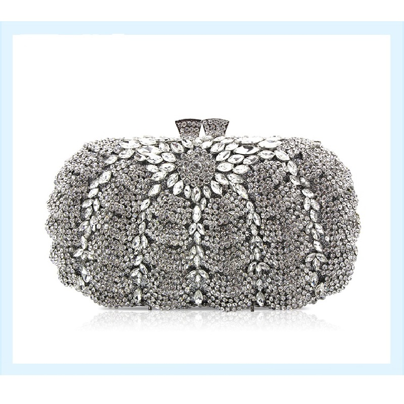 ФОТО 8365S silver Crystal Lady Fashion Wedding Bridal Party Night hollow Metal Evening purse clutch bag box handbag case
