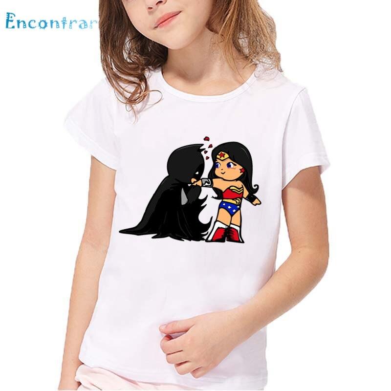 ada930736ae9 Wonder Woman and Batman Cartoon Pattern Funny Kids T shirt Baby Girls  Summer Comfortable Tops Boys Casual T-shirt,HKP5210