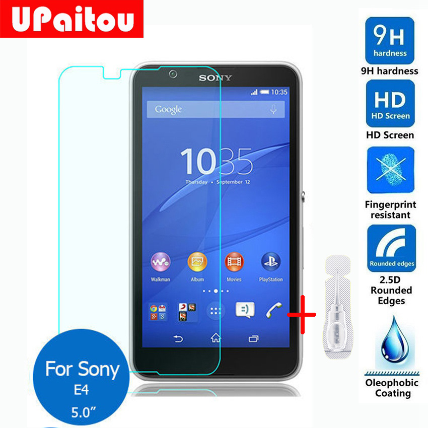 UPaitou Screen Protector For Sony Xperia E4 Tempered glass 2.5D 9H Safety Protective Film on E2105 E2114 E2115 E2124 dual 5.0
