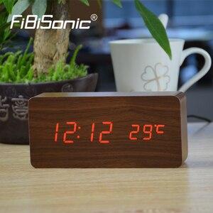 Image 2 - منبهات FiBiSonic مع ميزان الحرارة ، ساعات خشبية Led خشبية ، ساعة طاولة رقمية ، ساعات إلكترونية بتكلفة