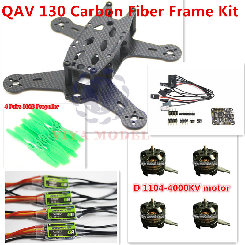 DIY MINI FPV QAV 130 Carbon Fiber Frame Kit + 3020 Propeller+ NAZA 32 REV6 10 DOF+ D1104 Motor +  6A ESC For FPV Quadcopter original naza gps for naza m v2 flight controller with antenna stand holder free shipping