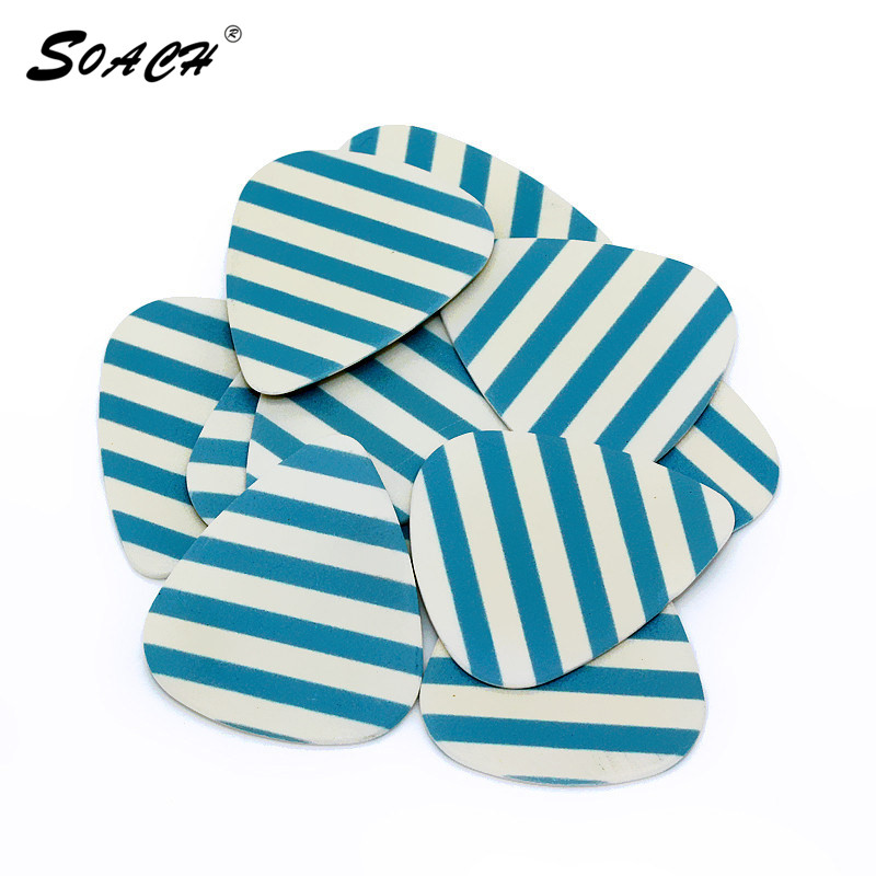 SOACH 10pcs/Lot 1.0mm Thickness Guitar Strap Guitar Parts Accessories   Stripes Personalized Guitar Picks