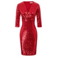 Belle Poque fashion Women's Dresses Sparkling Sequins Bodycon Pencil Dress 3/4 Sleeve Deep V Neck Hips wrapped Slim Dress