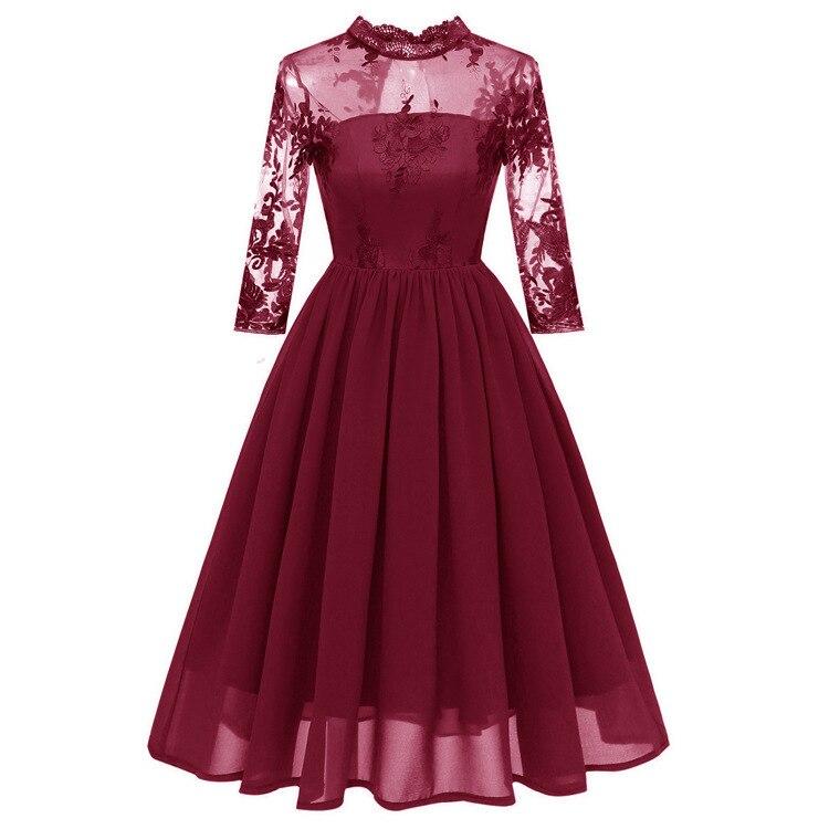 2018 סתיו חורף קוקטייל שמלות גבוהה צוואר שלושה רובע שרוולי vestido coctel שיפון רקמת תחרה קצרה המפלגה
