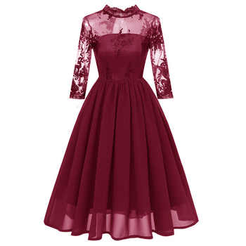 2019 Autumn Winter Cocktail Dresses High Neck Three Quarter Sleeves vestido coctel Chiffon Embroidery Lace Short Party Gowns - DISCOUNT ITEM  50% OFF All Category