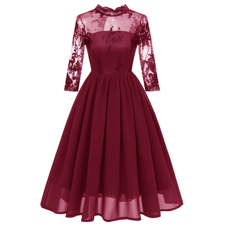 2020 Autumn Winter Cocktail Dresses High Neck Three Quarter Sleeves Vestido Coctel Chiffon Embroidery Lace Short Party Gowns