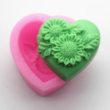 Silicone Loaf Soap Making Molds DIY 3D Heart Flower Mold