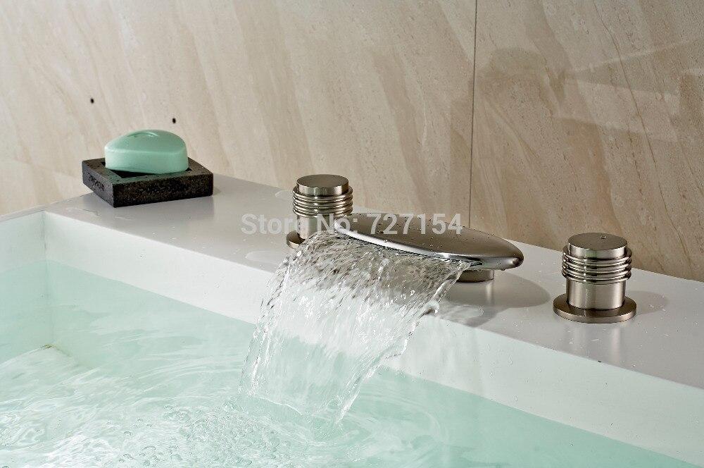 Free Shipping! Deck Mounted Waterfall Dual Handles Basin Faucet Nickel Brushed Sink Mixer Tap