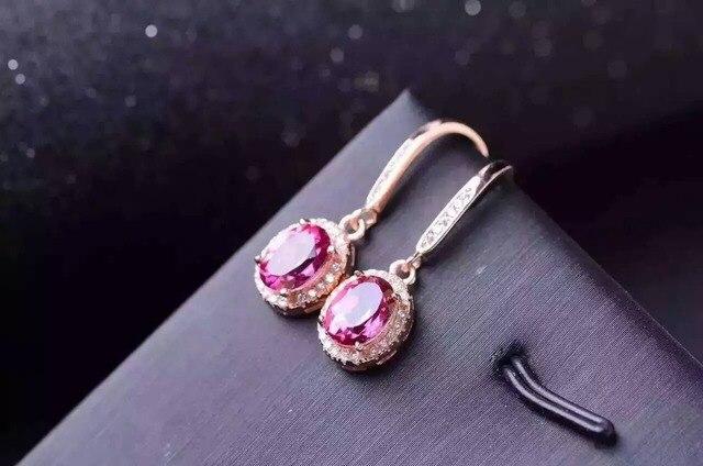 Natural Pink Topaz Stone Drop Earrings 925 Silver Gemstone Earring Women Clic Elegant Round Fashion