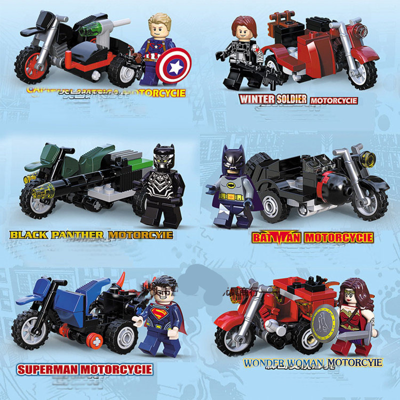 6pcs/set Marvel Super Heroes Batman Hero Figures Motorcycle Building Block Assemble Model Brick Education Sermoido Toys