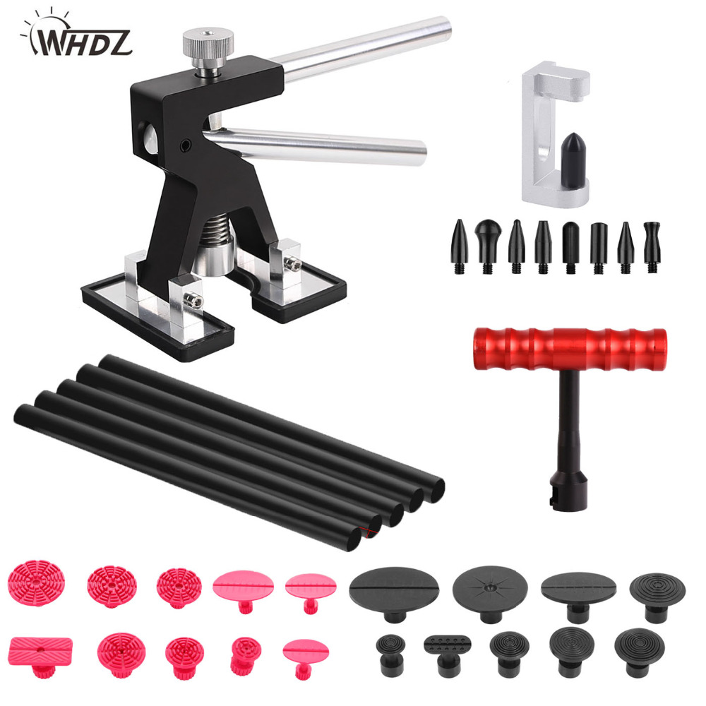 WHDZ Car Dent Repair Tools Dent Puller Paintless Removal tools Dent Lifter with Glue Sticks 19pcs Dent Removal Pulling Tabs set dent pulling bits straight