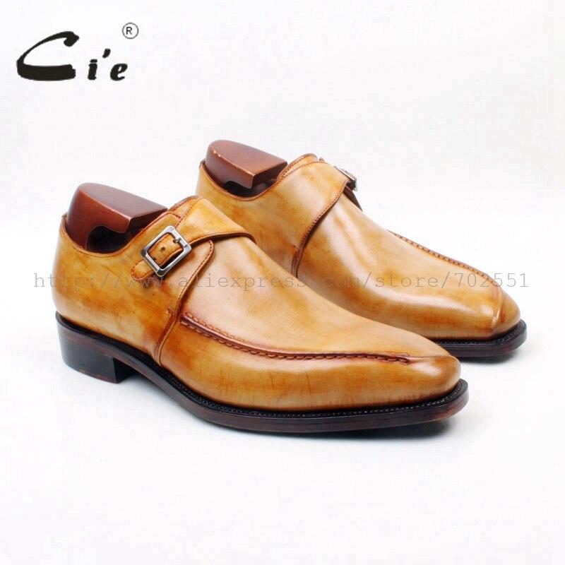 Бесплатная доставка, сшитые на заказ ручной работы чисто подлинной ребенка телячьей кожи мужская монах Ремни цвет коричневый обуви TZ7