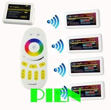 ФОТО Smart WiFi led controller hub+RGBW RF remote+4pcs 2.4G group control Wireless Controller for rgbw led strip 12V-24V by DHL 5set