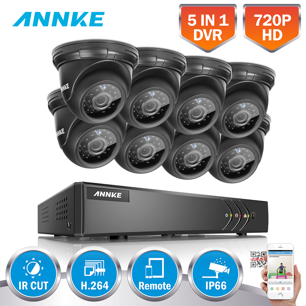 ANNKE TVI Smart CCTV System HD 1080N 720P 8CH HDMI DVR 8PCS 1MP 720P Dome Outdoor CCTV Camera Video Surveillance Kit Onvif P2P annke 8ch 5 in 1 dvr kits surveillance camera hd 720p tvi cctv security system 1080n dvr kit 1280tvl outdoor weatherproof video