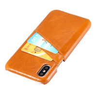Luxury Genuine Leather Cover For IPhone X Hard Case Card Holder Slots On Back Cell Phone