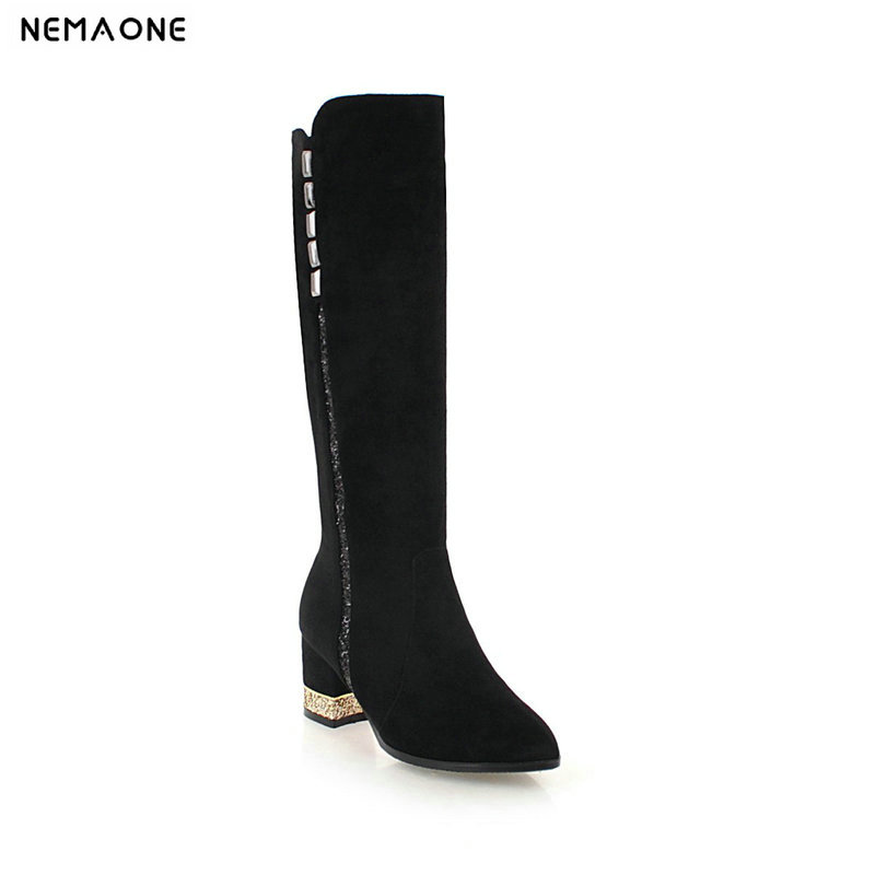 NEMAONE 2019 New autumn winter women boots thick high heels knee high boots woman black gray brown shoes woman large size 42 43 nemaone fashion women s lace up knee high boots lady autumn winter high heels shoes woman platform yellow black white high boots