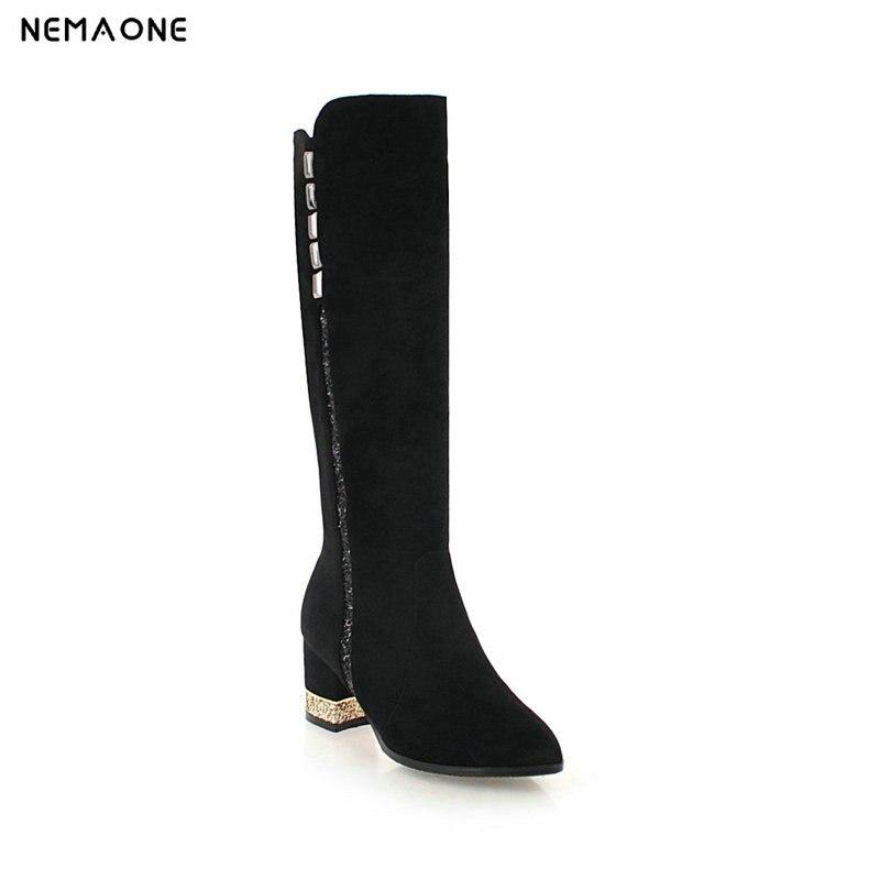 NEMAONE 2019 Nouveau automne hiver femmes bottes talons hauts épais genou haute bottes femme noir gris marron chaussures femme grande taille 42 43