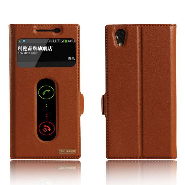 Lujo vista ventana genuino cubierta de cuero del caso del soporte para lenovo p70 teléfono cubierta de la bolsa