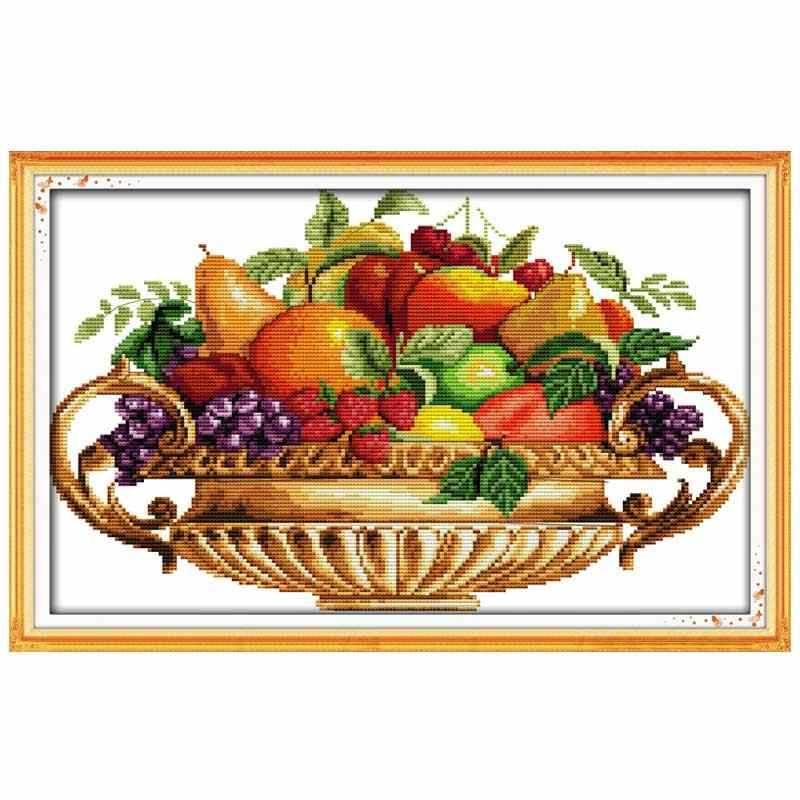 Fruit dish painting counted printed on the canvas DMC 11CT 14CT DIY kit Cross Stitch embroidery needlework Sets home decor