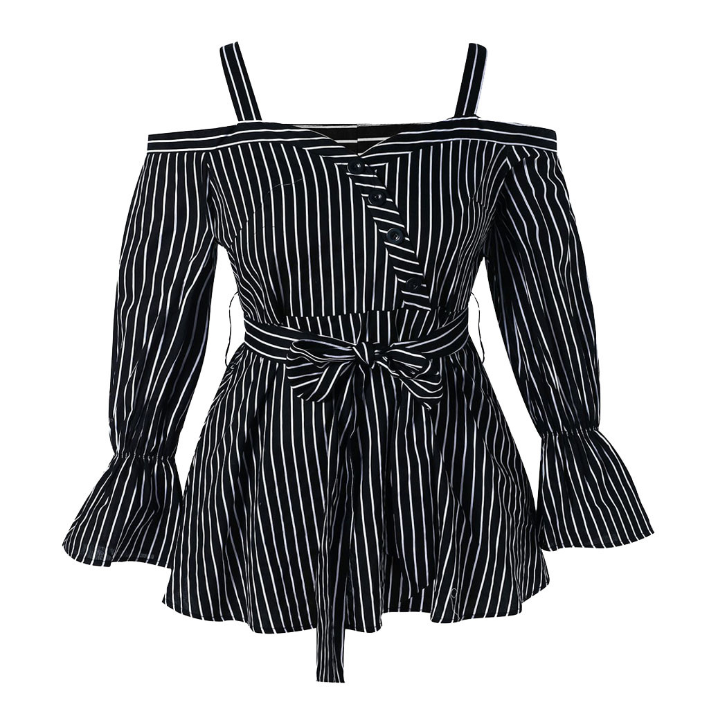 2019 Hot Selling Fashion   Blouse   Womens Striped sling Plus Size Open Shoulder Belted Stripe   Blouse     Shirt   Belted Patchwork Tops