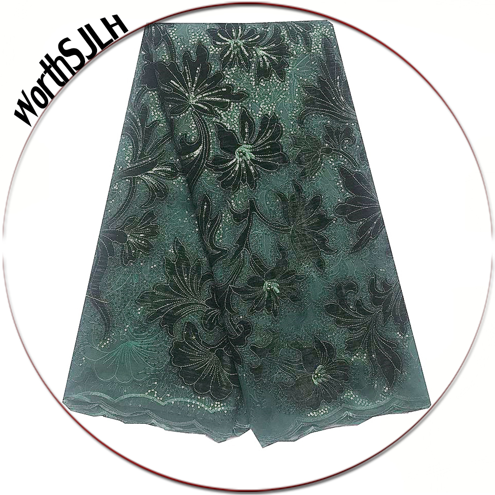 Velvet Latest Tulle Fabrics Lace Material Baby Pink Swiss African Lace Fabric 2019 High Quality Green