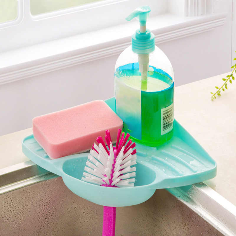 1Pc Kitchen Sink Corner Shelf Sponge Sucker Storage Rack Soap Cleaning Brush Organizer Ball Drain Holder Bathroom Accessories