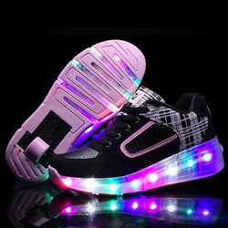 Size27-40 //shoe led children's glowing kids shoes skate wheels with led light up for girls&boys Luminous sneakers rollers