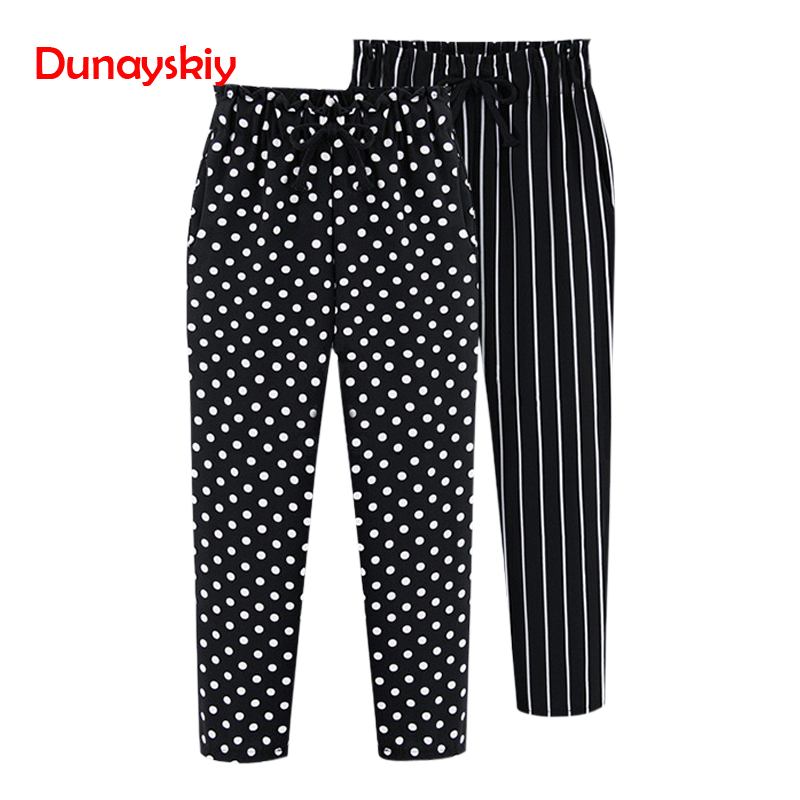 Dunayskiy Plus Size 5XL Loose Striped And Dot Harem Pants High Elastic Waist Casual Autumn New Femme Ankle Length Trousers