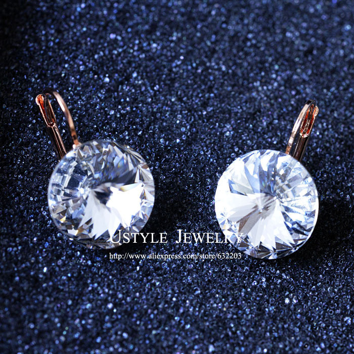 USYTLE Rose Gold Austrian Crystal Drop Earrings for woman JE0013