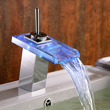 Color Changing LED Water Bathroom Sink Faucet Tap with Glass Spout (Waterfall) ,Torneiras Para De Banheiro