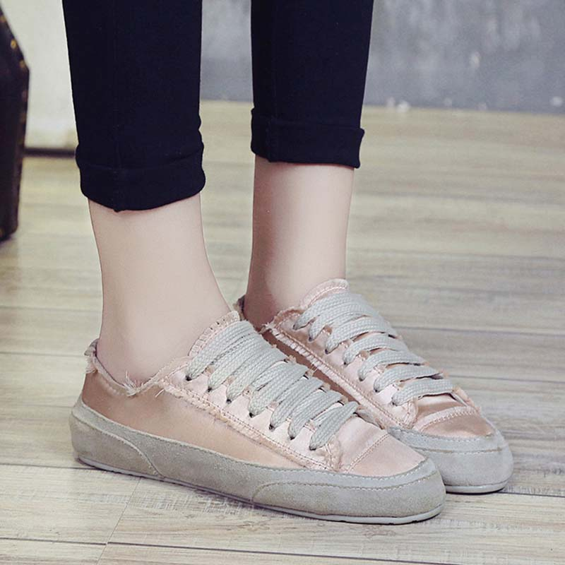 Vulcanisé Confortable Coréenne Femmes White Version Appartements Soie champagne Chaussures Femme Sneakers Gnome Modis Tissu Célèbre Designer If1wx1g
