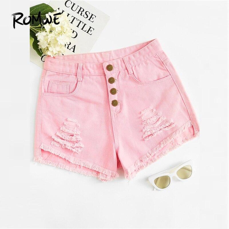 ROMWE Ripped Frayed Edge Button Fly Denim Shorts Women Pink Minimalist Pocket Mid Waist Shorts 2019 Fashion Summer Shorts