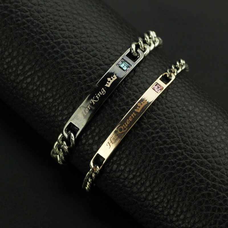 Jewelry & Accessories Honesty New Arrival Lettering Her King His Queen Couple Bracelets Crytal Crown Charm Bracelets For Women Men Lover Jewelry Drop Shipping