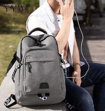 YYW 2018 新ファッションメンズバックパックバッグキャンバスラップトップバックパックコンピュータバッグ高校生大容量カジュアルバックパック
