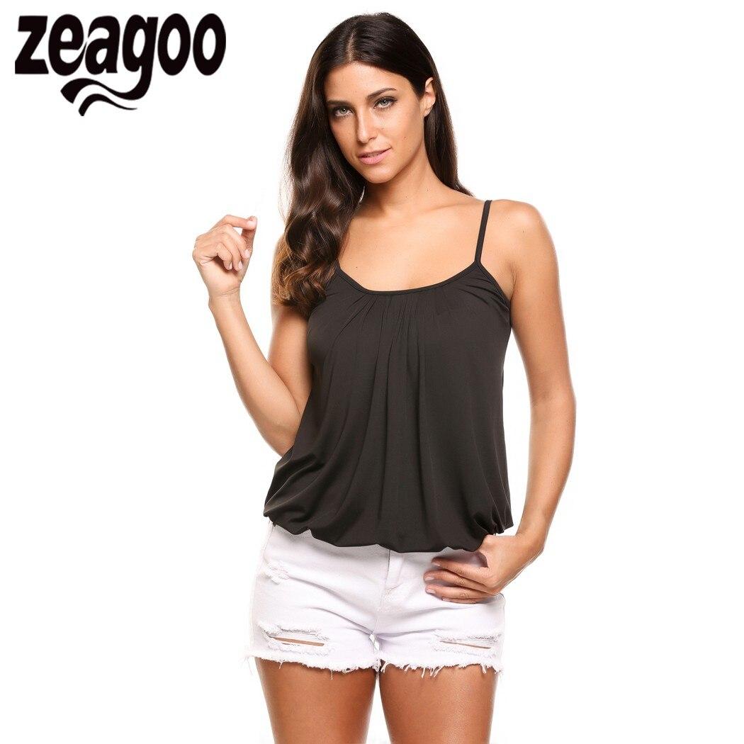 Zeagoo Women Casual Tank Shirt Solid Adjustable Spaghetti Strap Cami Tank Top Summer Style White/Black Camis Vest Plus Size XXL