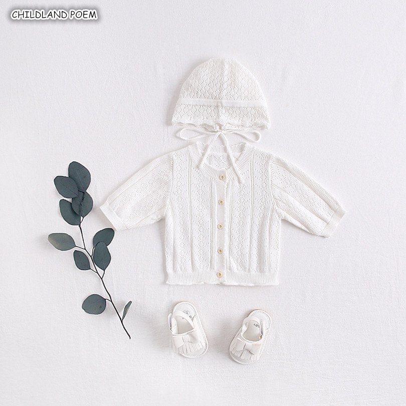 Knitted Baby Clothes Summer Spring Breathable Toddler Baby Cardigan Newborn Baby Girl Clothes With Hat Baby Sunscream JacketKnitted Baby Clothes Summer Spring Breathable Toddler Baby Cardigan Newborn Baby Girl Clothes With Hat Baby Sunscream Jacket