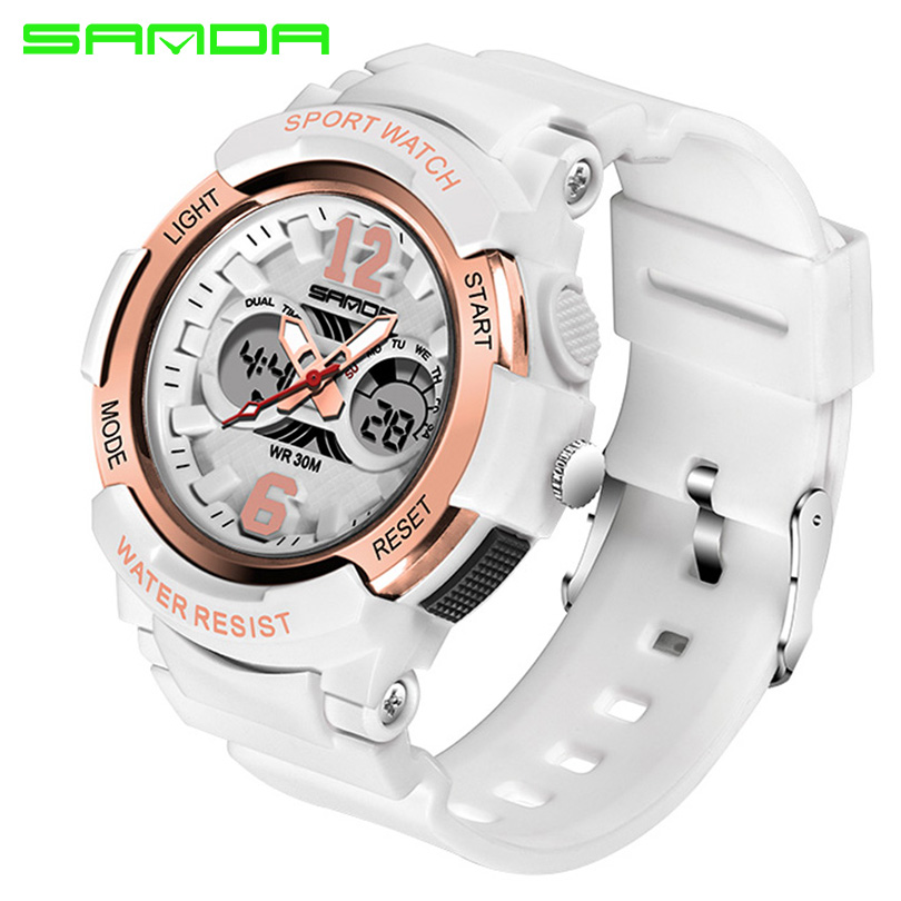 SANDA Sport Watch Women Watches Ladies Brand Electronic LED Digital Wristwatch Female Wrist Clock Montre Femme Relogio Feminino 2017 new colorful boys girls students time electronic digital wrist sport watch drop shipping 0307