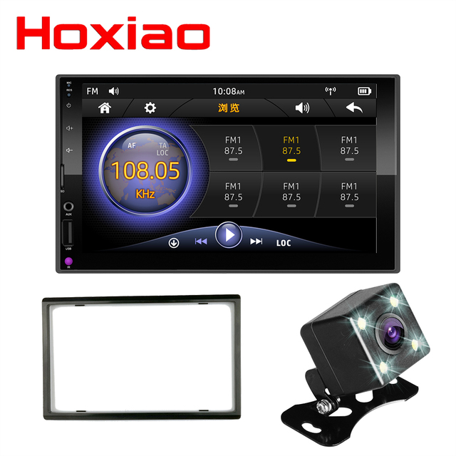 """Reproductor Multimedia con pantalla táctil capacitiva para coche, reproductor con radio 2 DIN, Mirror Link, pantalla táctil de 7 """", MP5, Bluetooth, USB, TF, FM, cámara"""