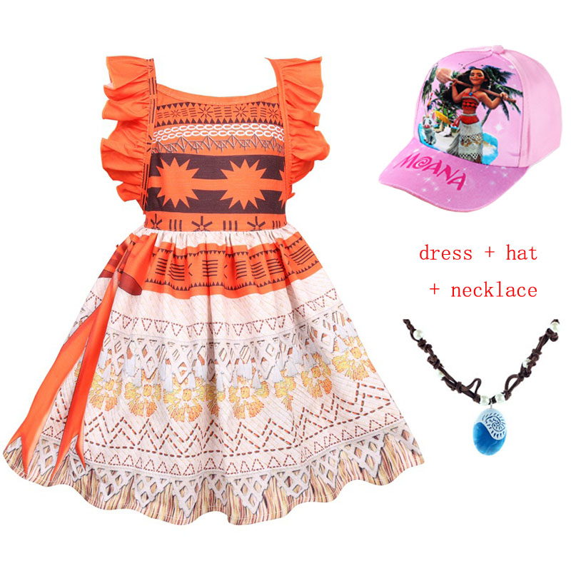 Pamaba Moana Princess Girls Dress Cosplay Costume Summer Baby Girl Clothes Kids Vaiana Party Supplies With Necklace Wig Garland With The Most Up-To-Date Equipment And Techniques Mother & Kids